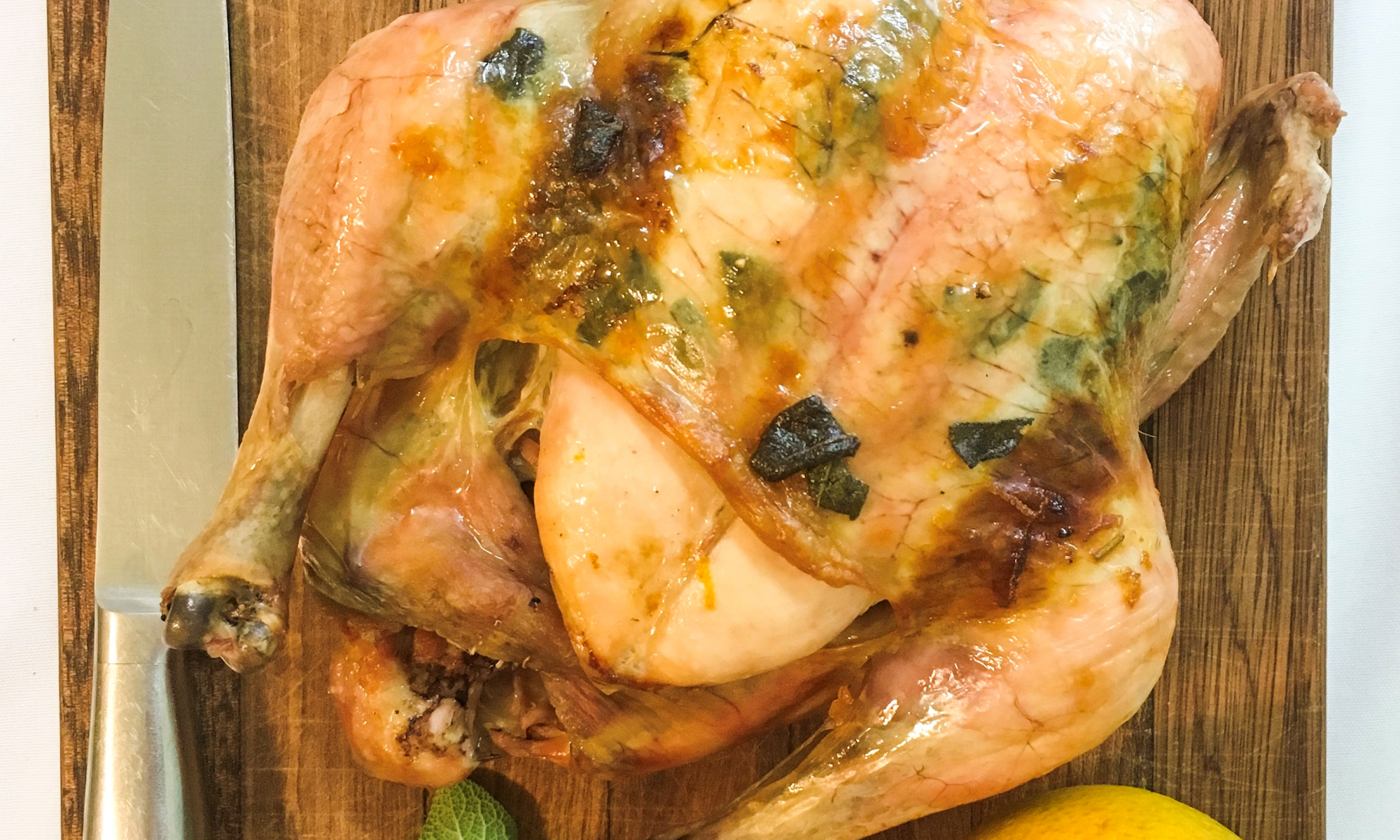 Buttery roast chicken with orange and sage